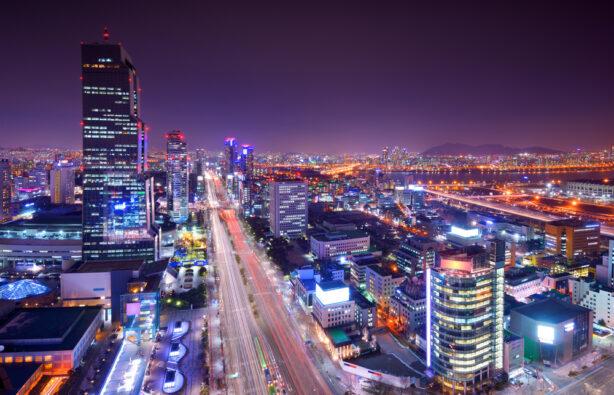 Престижный район Gangnam в Сеуле