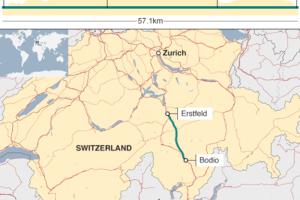 В Швейцарии открыт самый длинный туннель в мире