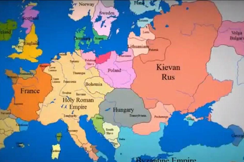 Границы европейских стран за последние 1000 лет