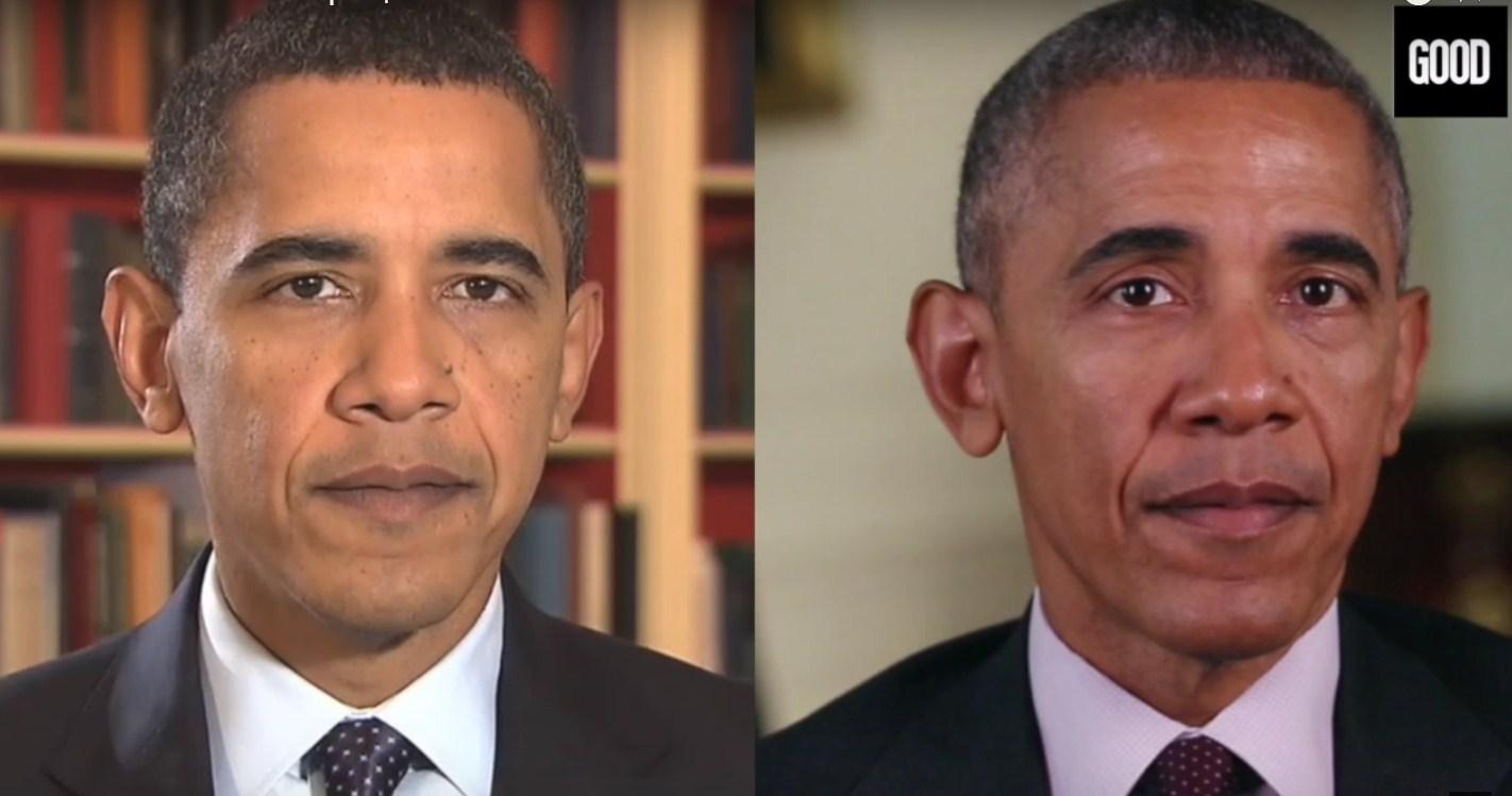 Как изменилось лицо Обамы за два президентских срока