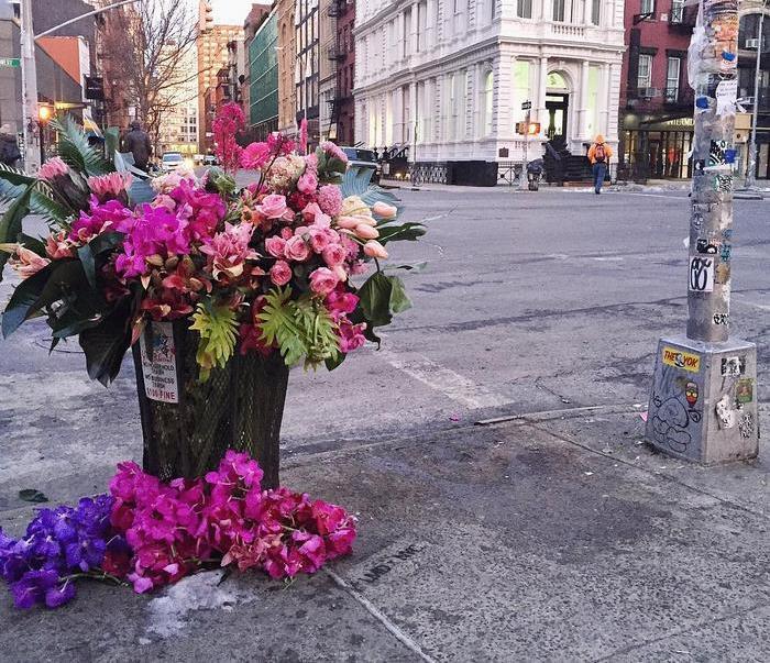 Мусорные урны Нью-Йорка превратились в вазы для цветов