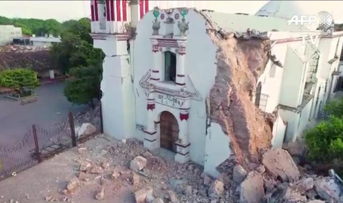 Мексика после мощного землятрясения: видео с дрона