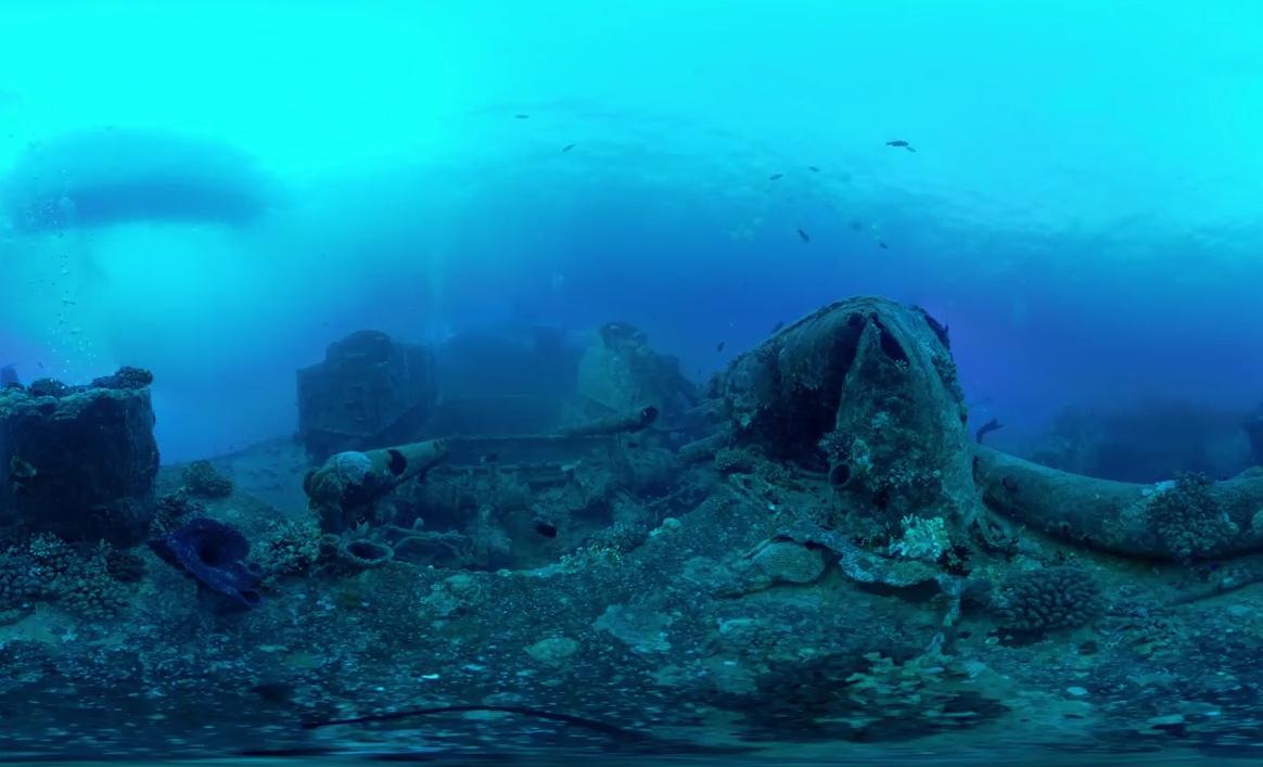 Виртуальный дайвинг среди затопленных в океане кораблей (видео 360°)