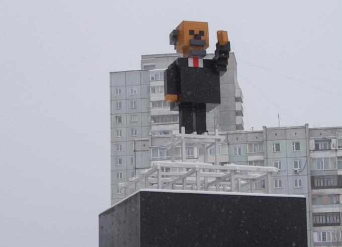 В Красноярске поставили пиксельного Ленина