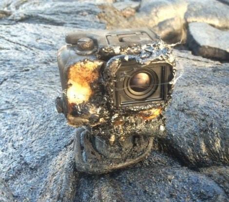 Камера GoPro утонула в потоке лавы, но не отключилась