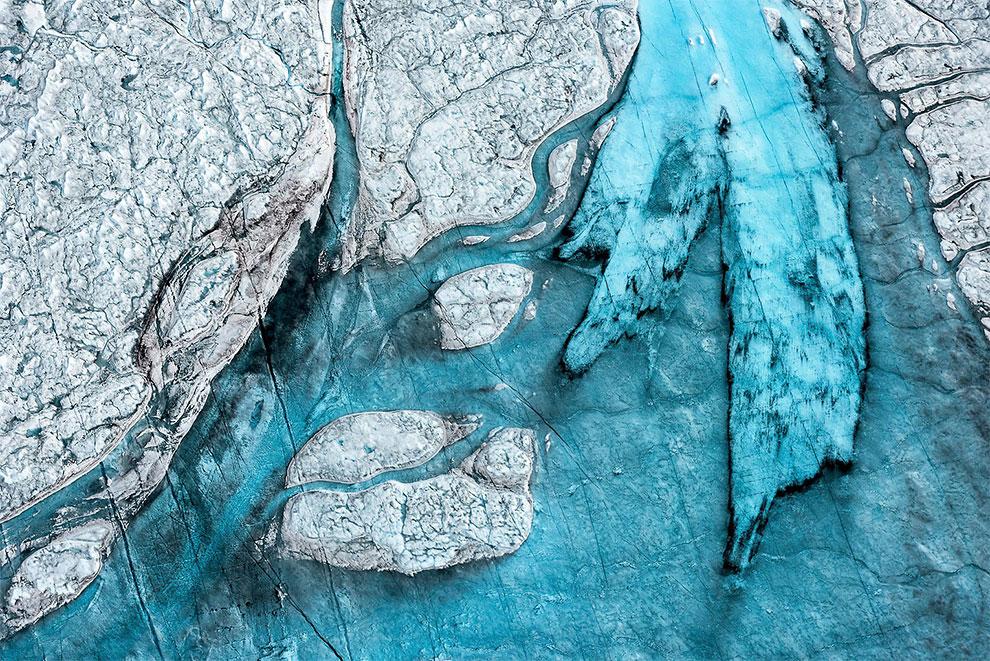 Тающие ледники Гренландии с высоты птичьего полета