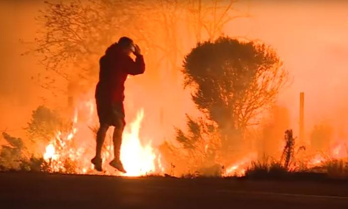 Американец рискнул жизнью, спасая кролика от пожара в Калифорнии