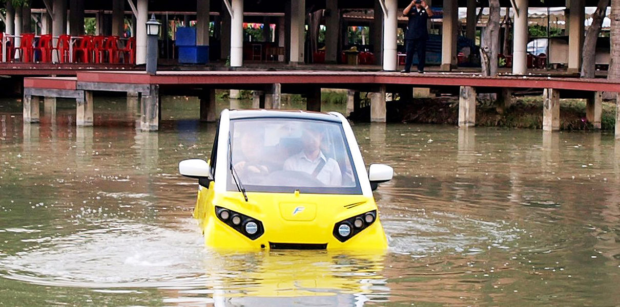Японец разработал плавающий электромобиль на случай цунами.Вокруг Света. Украина