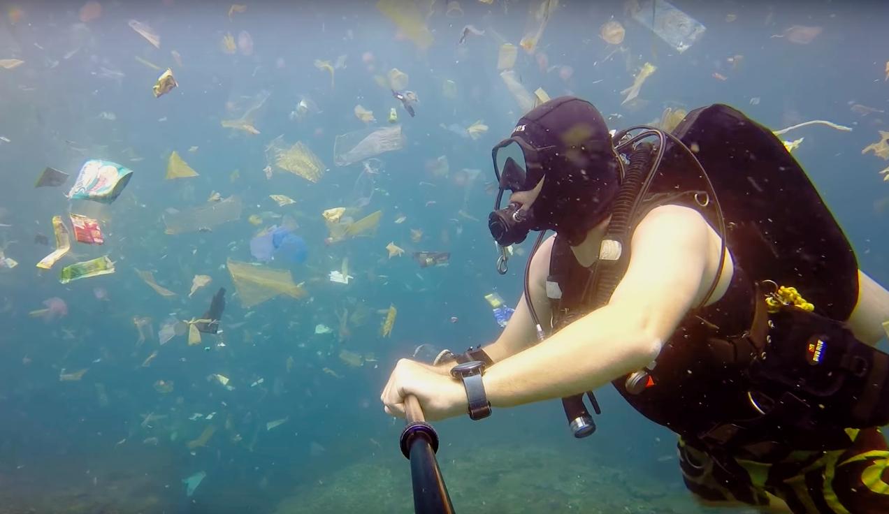 Дайвер показал, сколько мусора плавает у берегов Бали