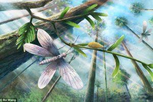 Бабочки золотого цвета порхали вокруг динозавров