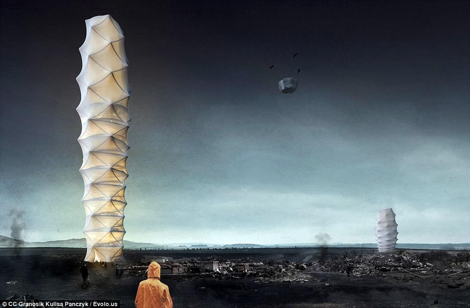 Поляки придумали складной небоскреб-оригами для тысячи бездомных