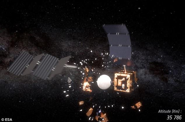 ESA показало столкновение двух спутников на орбите
