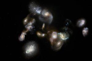 Первая любовь: астрономы засняли самое раннее слияние галактик