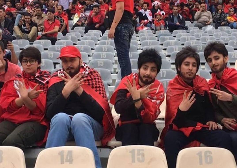 Накладные бороды и усы: иранки на футболе
