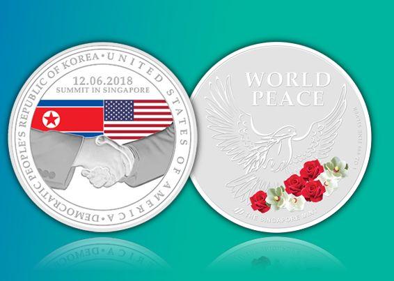 Сингапур выпустил монету, посвященную встрече Трампа и Ким Чен Ына