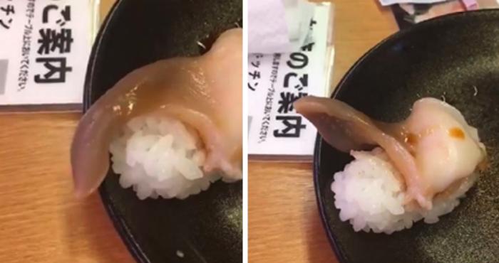 В японском ресторане еда чуть не сбежала из тарелки