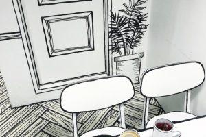 В Сеуле открыли нарисованное кафе