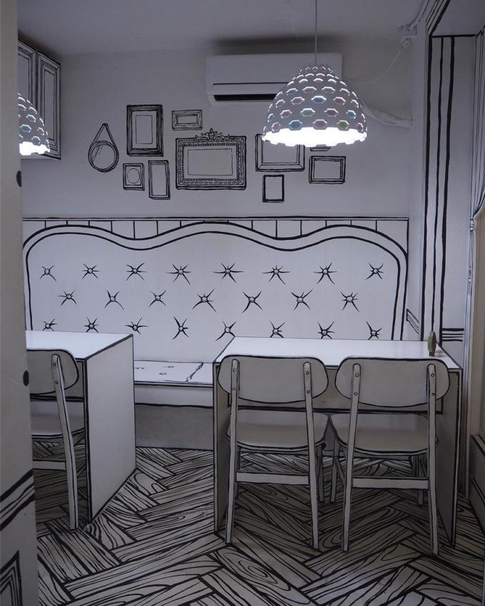 В Сеуле открыли нарисованное кафе В Сеуле открыли нарисованное кафе 4 9