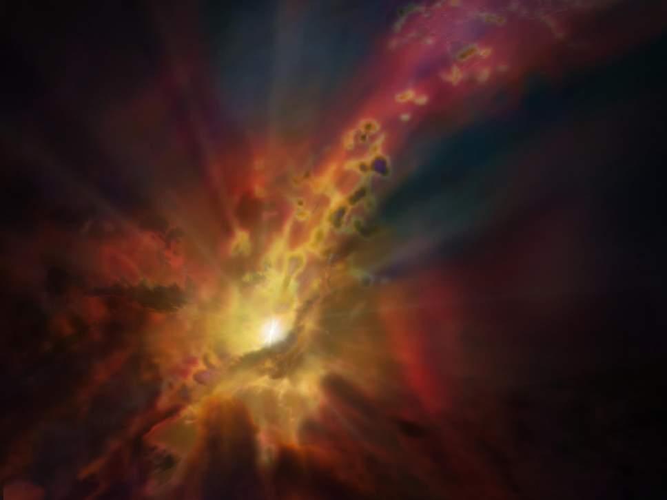 Галактический ветер, управляющий рождением звезд, обнаружили в глубинах космоса