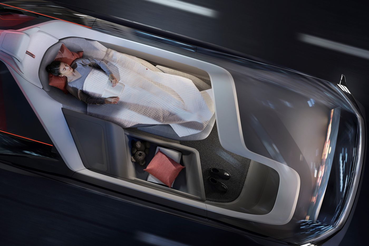 Volvo представили автомобиль без руля и педалей, но зато с кроватью