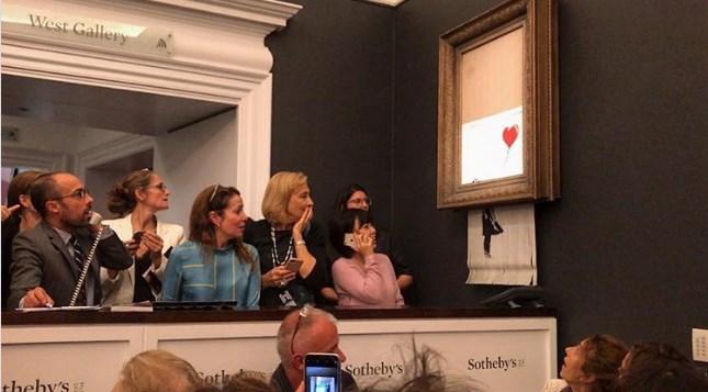 Картина Бэнкси за $1,5 миллиона самоуничтожилась на глазах покупателя