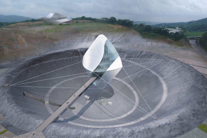 Японский космический центр подвесят над кратером
