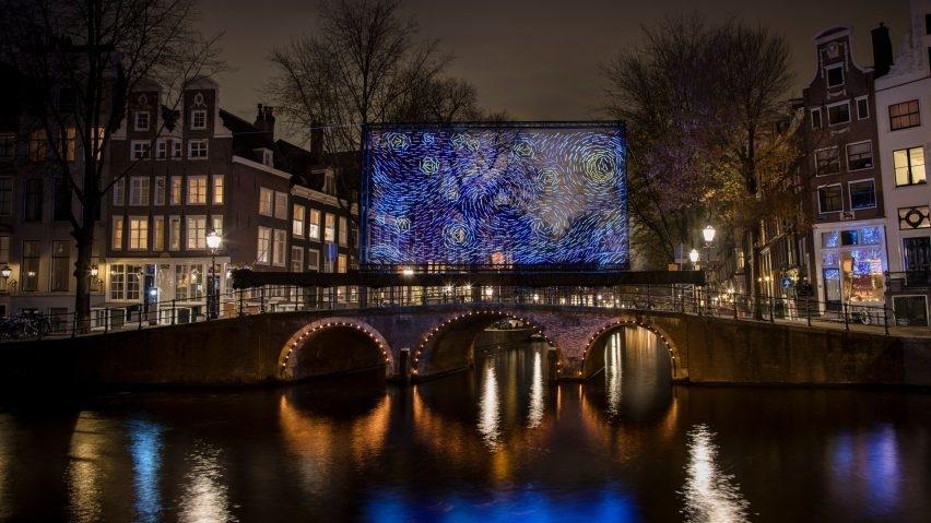 В Амстердаме нарисовали Ван Гога светодиодами.Вокруг Света. Украина