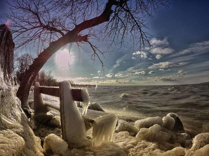 Озеро Балатон стало царством Снежной королевы.Вокруг Света. Украина