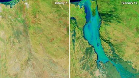 В Австралии из-за наводнения река разлилась на 60 км в ширину