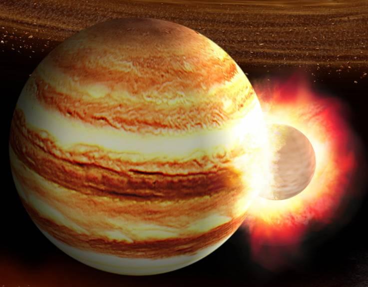 Юпитер столкнулся с другой планетой 4,5 миллиарда лет назад