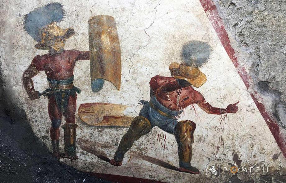В древней помпейской таверне обнаружили фреску с изображением гладиаторов.Вокруг Света. Украина
