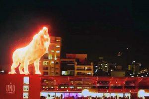 В Аргентине на открытии стадиона выступил огненный лев