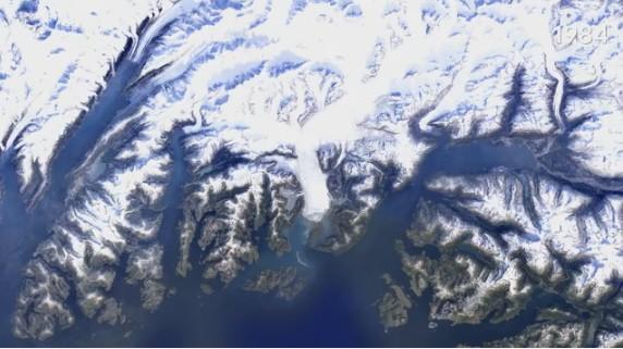 47 лет таяния ледника на Аляске за 14 секунд