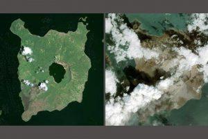 Озеро в кратере вулкана Тааль почти исчезло