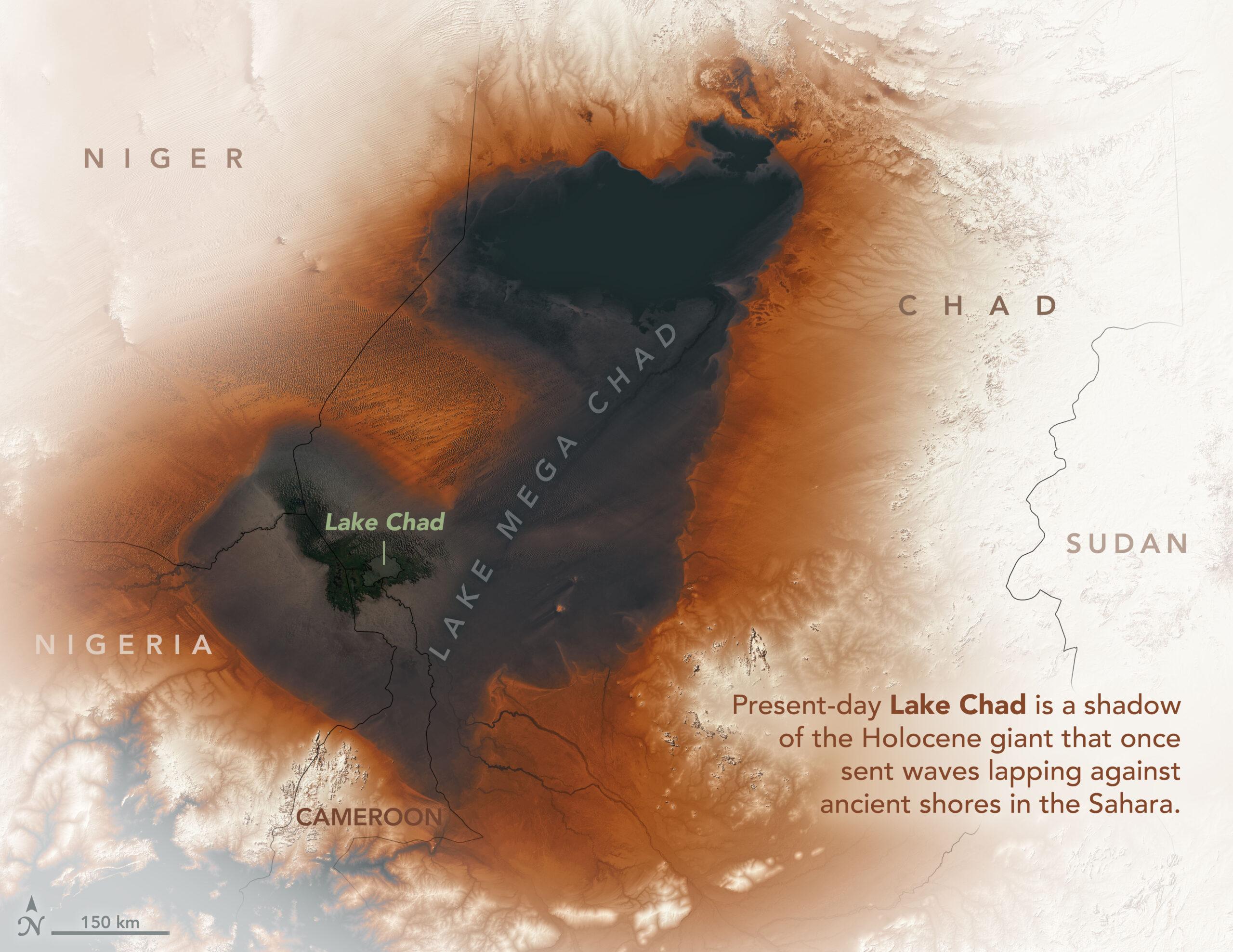НАСА показало, как выглядят остатки огромного древнего озера в Сахаре