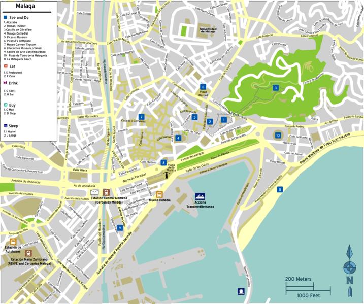 карта Малага