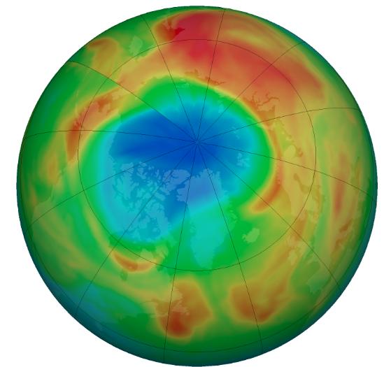 В озоновом слое над Арктикой появилась огромная дыра