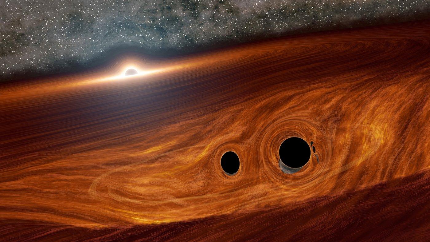 Астрономы впервые обнаружили свет от слияния черных дыр