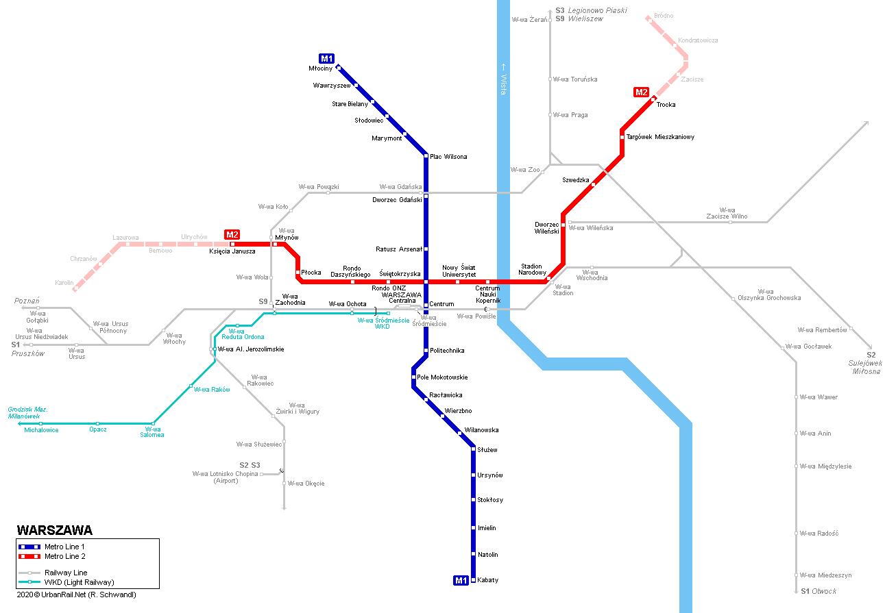 карта метро варшава