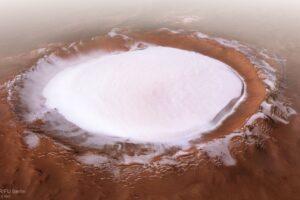 ESA показало марсианский кратер Королёв в эффектом видео