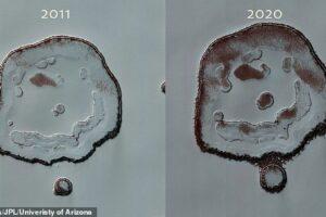 Кратер на Марсе заметно вырос из-за термической эрозии