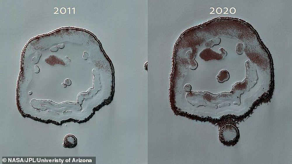 Кратер на Марсе заметно вырос из-за термической эрозии.Вокруг Света. Украина