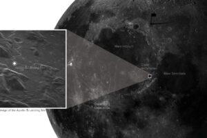 На снимке, сделанном с Земли, удалось четко увидеть место посадки Аполлона-15