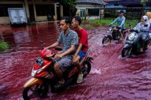 Село в Индонезии затопило «кровавой» рекой
