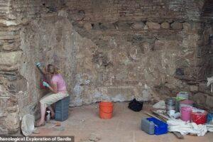 На раскопках дома V века обнаружены отпечатки лап, рисунок курицы и пять мечей