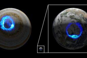 Juno впервые снял полярное сияние на Юпитере вблизи