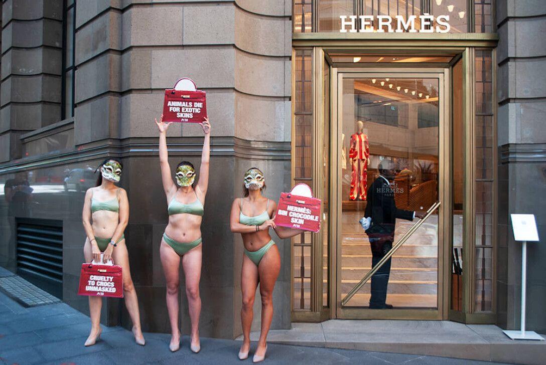 Зоозащитники  устроили акции против крокодиловых сумочек Hermes