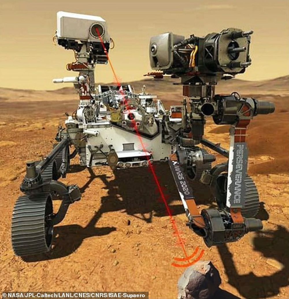 NASA показало, как марсоход Perseverance использует свой мощный лазер