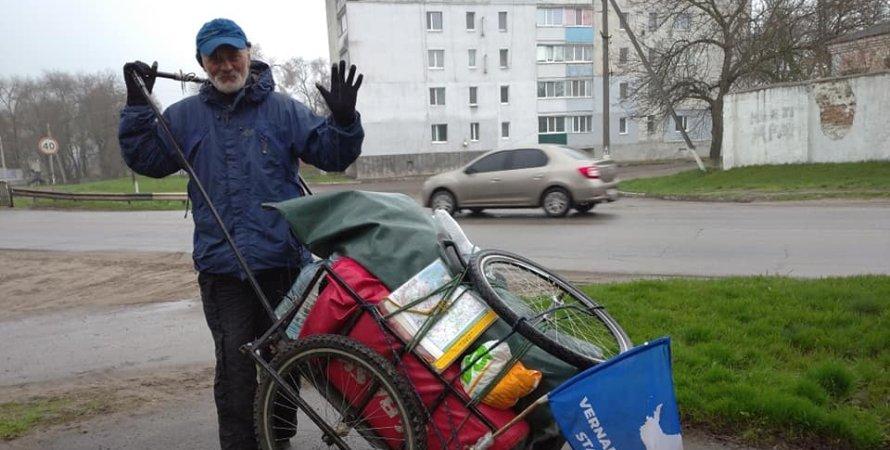 63-летний украинец прошел пешком более тысячи километров.Вокруг Света. Украина