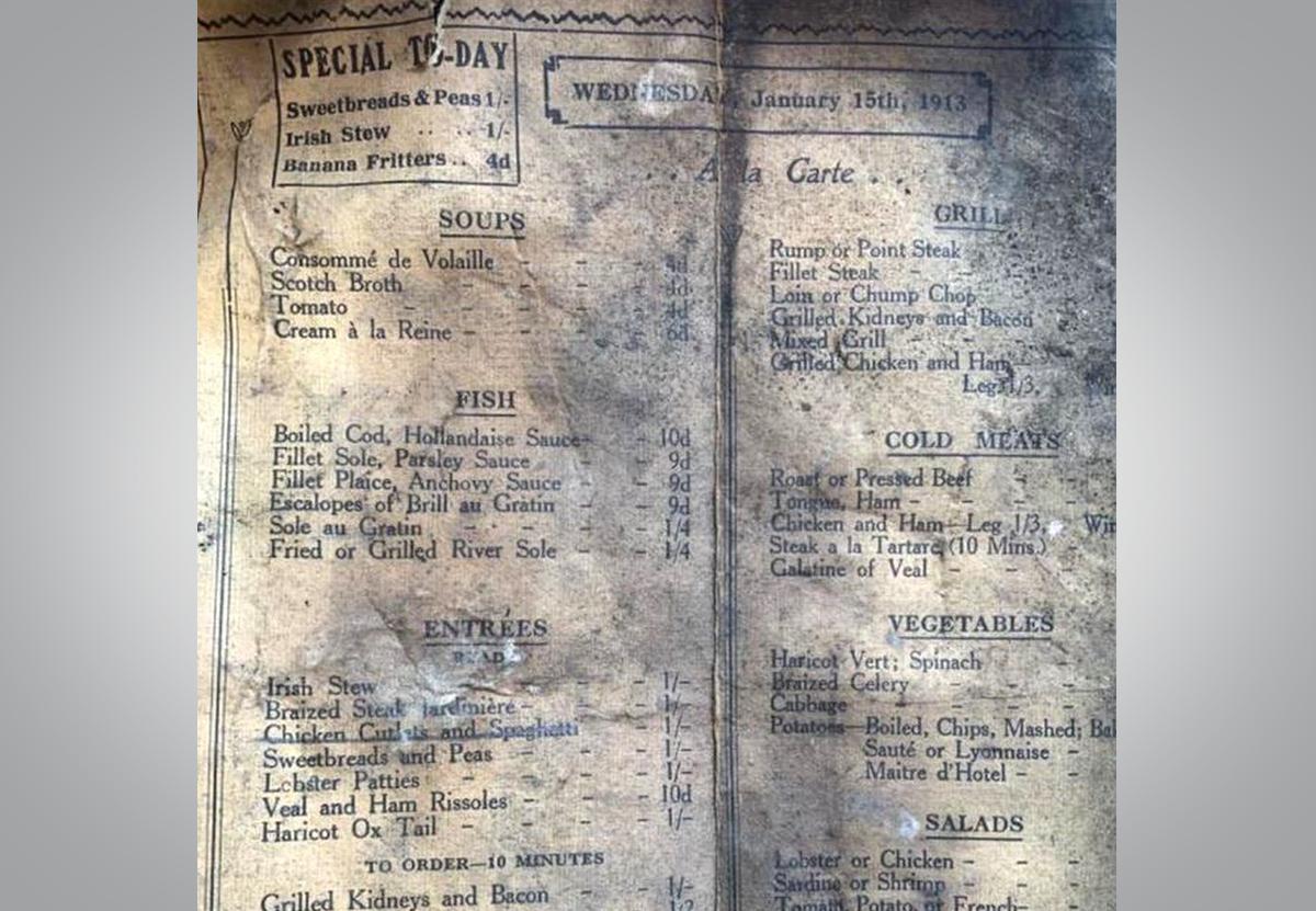 В ливерпульском кафе во время ремонта нашли меню 1913 года